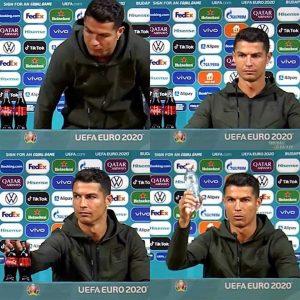 葡萄牙超級球星C羅(Cristiano Ronaldo)在首戰匈牙利的賽前記者會中受訪,僅憑一個動作,就讓可口可樂市值重挫。圖:翻攝自推特